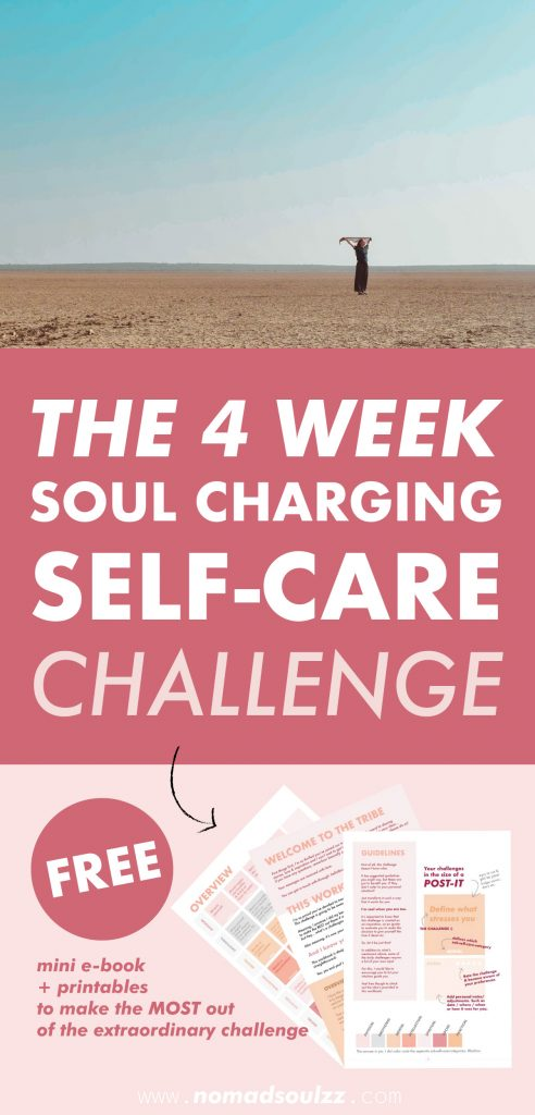 4 Week SOUL CHARGING Self-Care Challenge. In this challenge you will pass by all facades of Self-Care. It's created to inspire, motivate and remind you to say YES to yourself more often so you can be the best version of yourself. YOU DESERVE THIS!