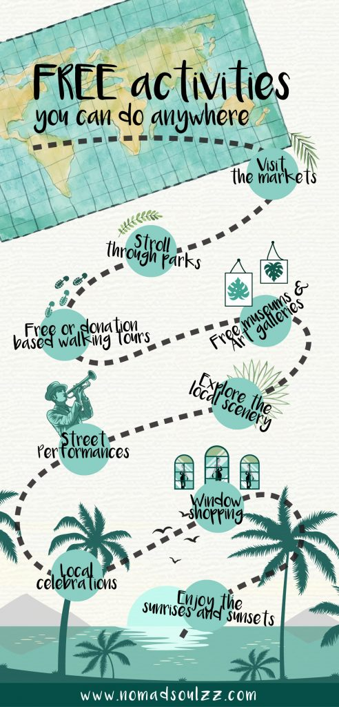 Infographic of free activities you can do anywhere. Budget travel tips and inspiration in one glance.